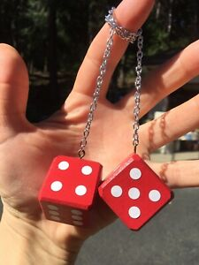 Red Mirror Dice New Product Car Or Truck Hand Made In Usa Casino Fun Maple Hot