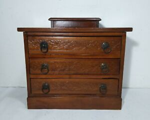 Antique Curtis Wooden Jewelry 3 Drawer Chest Spool Cabinet Mission Arts Crafts