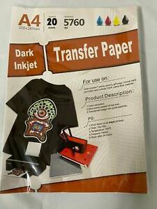 New Inkjet Iron on Heat Transfer Paper For Dark Fabric 20 Sheets 8 5 x 11 A4