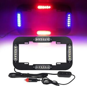 13 5 Led Red Blue Emergency License Plate Light Flash Warning Strobe Lamp 24 W