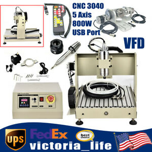 5 Axis Router Engraver Cnc 3040 Vfd Wood Carving Machine Cutter 800w Controller