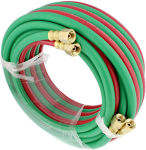 Oxygen Acetylene Hose B Fittings Twin Welding Hose Oxy Cutting Torch 25 Foot Kit