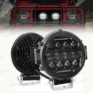 Motorcycle 7 Led Pods Driving Light Bar White Drl Light Flood Spot Suv Offroad
