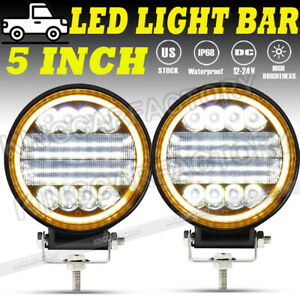 2x 5 inch 300w Round Led Work Light Spot Flood Offroad Driving Fog Amber Lamp