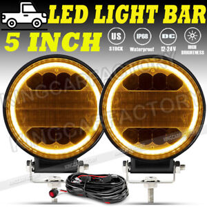 5inch Round Led Driving Spot Work Lights Bumper Fog Lamp Off Road Atv Wires