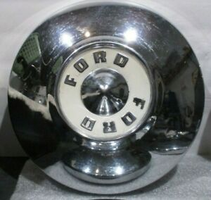 Vintage Set 4 Ford Dog Dish Hub Caps Chrome White