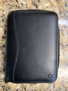 Franklin Covey Black Nappa Leather Compact Binder Planner 6 Ring 7 5 x5 5