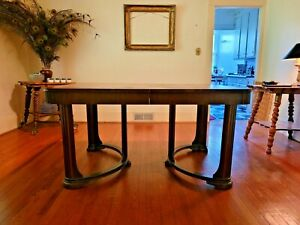 C1930s 40s Antique Art Deco Mahogany Veneer Draw Leaf Dining Room Table 5 Chairs