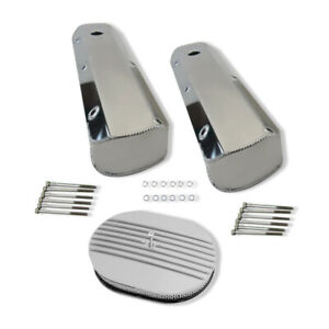 For Sbf 289 Fabricated Tall Aluminum Valve Covers 12 Half Finned Air Cleaner