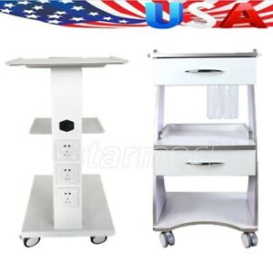 3 Shelf Dental Metal Tool Cart Mobile Instrument Cart Built in Socket