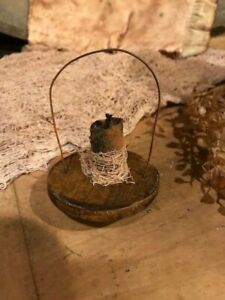 Primitive Lantern Ornaments Early Look Candle Light Feather Tree Mustard Paint