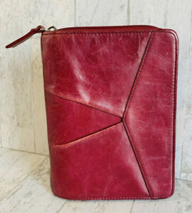 Franklin Covey Unstructured Compact Binder Full grain Leather Zip Around Maroon
