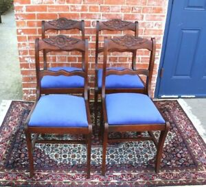 Set Of 4 Antique Mahogany Dining Chairs W New Upholstery