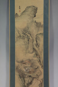 Japanese Painting Hanging Scroll Japan Landscape Ink Antique Old 930p