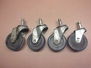 Lot Of 4 Ball Bearing 3 Swivel Caster Wheels Good Used Condition 1 1 4 Stems