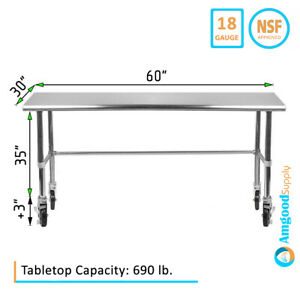 30 X 60 Open Base Stainless Steel Table Casters Prep Table On Wheels