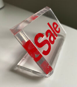 Vintage Acrylic Red Sale Sign Small 3 Wide Clear Plastic Business Retail Tiny