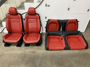 2015 2017 Ford Mustang Gt Red black Leather Front Rear Seats Power Oem