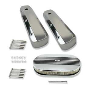 For Sbf 289 Fabricated Tall Polished Valve Covers 15 Half Finned Air Cleaner