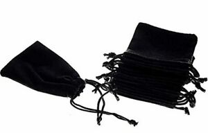 50pcs Jewelry Velvet Cloth Pouch Black Drawstring Small Bags 2 75 X 3 5