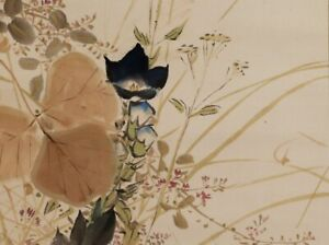 Hanging Scroll Japanese Painting Japan Old Autumn Grass Antique Picture 936p