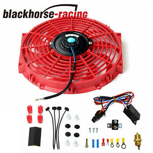 12 Universal Electric Slim Push Radiator Cooling Fan Thermostat Relay Kit Red