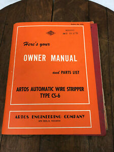 Artos Automatic Wire Stripper Type Cs 6 Owner Manual And Part List