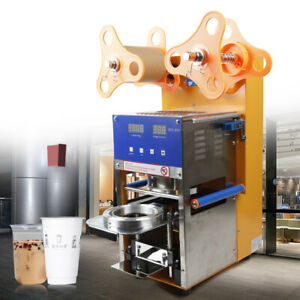 Semi automatic Cup Sealing Machine Commercial Flat Lipped Cups Sealer W counter