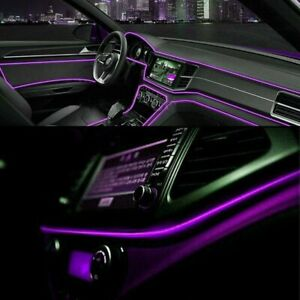 Led Car Interior Decor Atmosphere Wire Strip Light Lamp Accessories 12v Purple