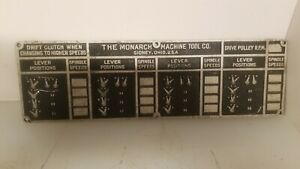 Monarch Lathe Cast Name Plate With Blank Speeds And Feeds Mo 52
