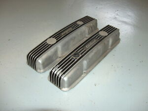 Vintage Edelbrock Small Block Chevy 6 Finned Aluminum Valve Covers 262 400 Cu in