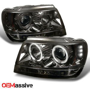 Fits 99 04 Jeep Grand Cherokee Smoke Dual Halo Projector Led Headlights Lh rh