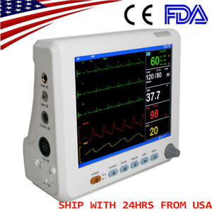 New 8 Icu Ccu Vital Sign Patient Monitor 6 parameter Ecg Nibp Resp Temp Spo2 Pr