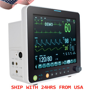 Portable 12 Vital Signs Icu Ccu Patient Monitor Ecg Nibp Resp Temp Spo2 Pr New