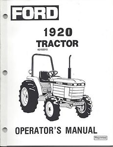Ford New Holland 1920 Tractor Operator Manual 42192010