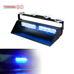 Blue 12v 11 Led Car Strobe Light Bar Windshield Emergency Warning Hazard Flash