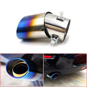Blue Auto Car Exhaust Pipe Tip Tail Muffler Stainless Steel Replacement Parts