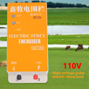 110v High voltage Pulse Fence Charger Solar Electric Ranch Fence Energizer New