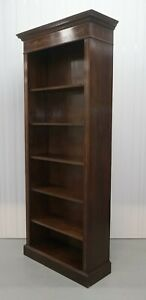 Elegant Brown Mahogany Sheraton Open Front Bookcase With Adjustable Shelves