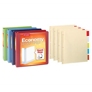 Cardinal 3 Ring Binder Economy Pack With 4 Sets Of Binder Dividers 1 5 Inch 4