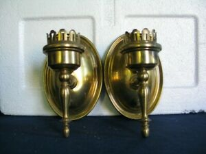 Pair Antique 1920s Brass Wall Sconces