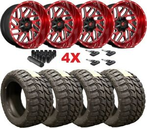 22x12 Fuel Triton Candy Red Brushed Wheels Rims Tires 33 12 50 22 F 150 Titan