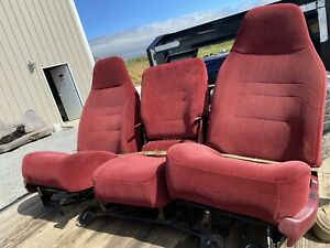 92 96 Ford F150 F250 Bucket Seats 40 20 40 Jump Seat Center Console Red Oem