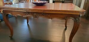 French Antique Dining Table With Oak Parquet Top And Draw Leaf