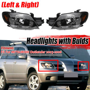 Front Headlight Head Lamp W Blub Replacement For Mitsubishi Outlander 2003 2005