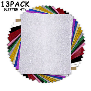 Htvront 13 pack Htv Glitter Heat Transfer Vinyl Sheets For T shirt 10 X 12