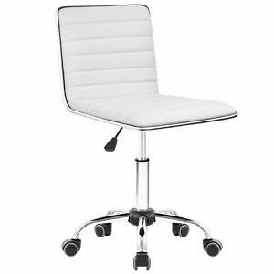 Walnew Task Chair Desk Chair Mid Back Armless Vanity Swivel Office Rolling White