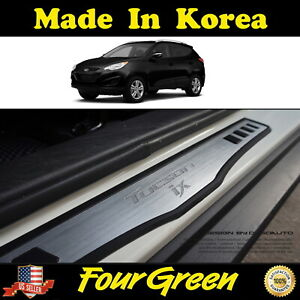 2pcs Door Sill Scuff Plate Cover Step Protector For 2010 2014 Hyundai Tucoson