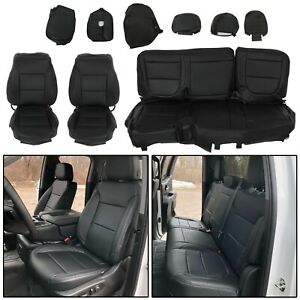 For 2019 21 Chevy Silverado 1500 2500 3500 Black Full Set Seat Cover Leather Wt