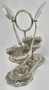 Lovely Antique Silver Plated Pierced 2 Egg Cups Stand Spoons Cruet Set